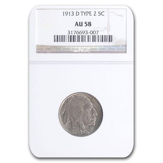 1913-D Buffalo Nickel AU-58 NGC (Type 2)