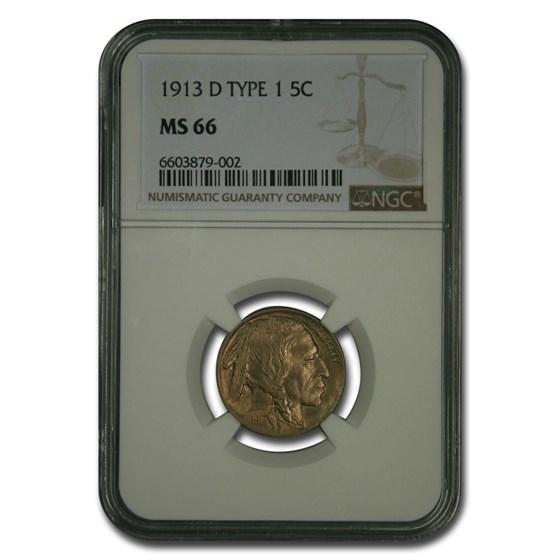 1913-D Buffalo Nickel MS-66 NGC