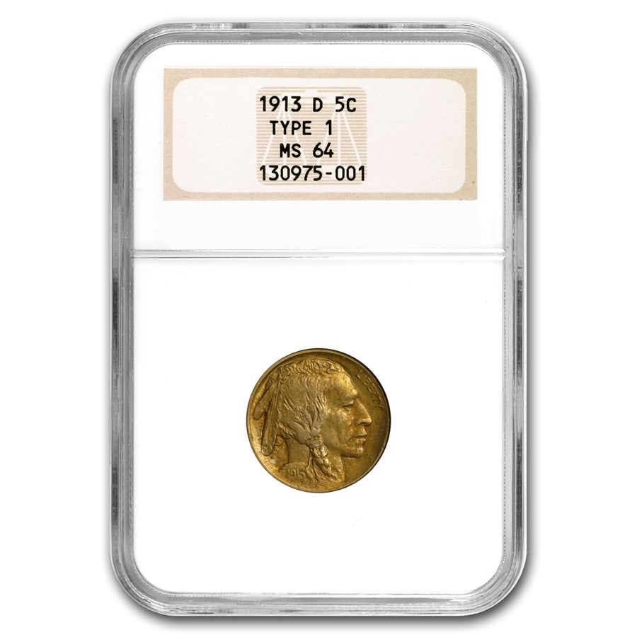 1913-D Buffalo Nickel Type-I MS-64 NGC (First Generation Holder)