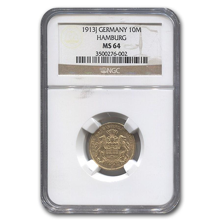 1913-J Germany Gold 10 Mark Hamburg MS-64 NGC