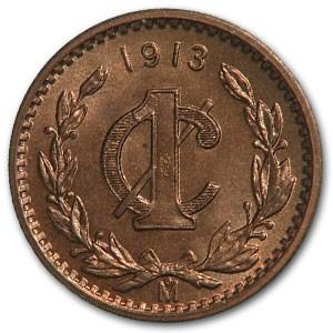 1913 Mexico Centavo Bronze BU Red/Brown KM#415