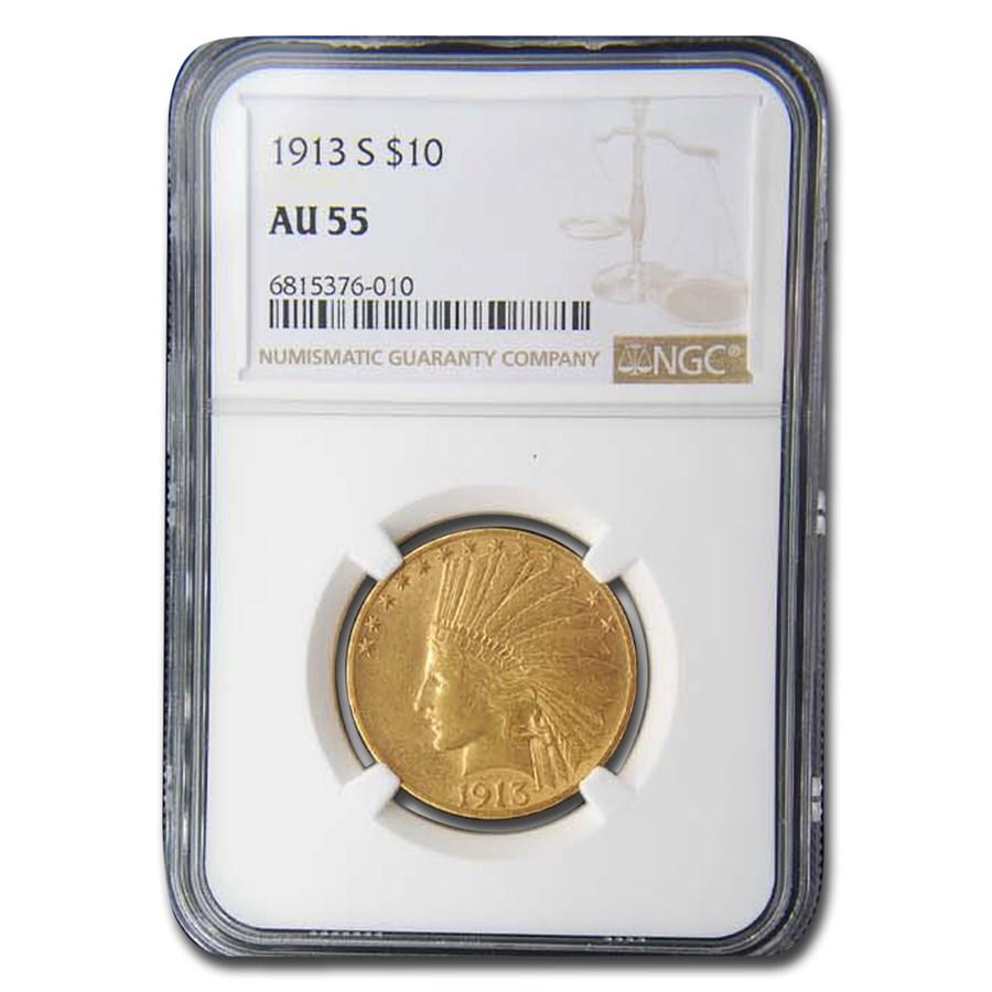 1913-S $10 Indian Gold Eagle AU-55 NGC