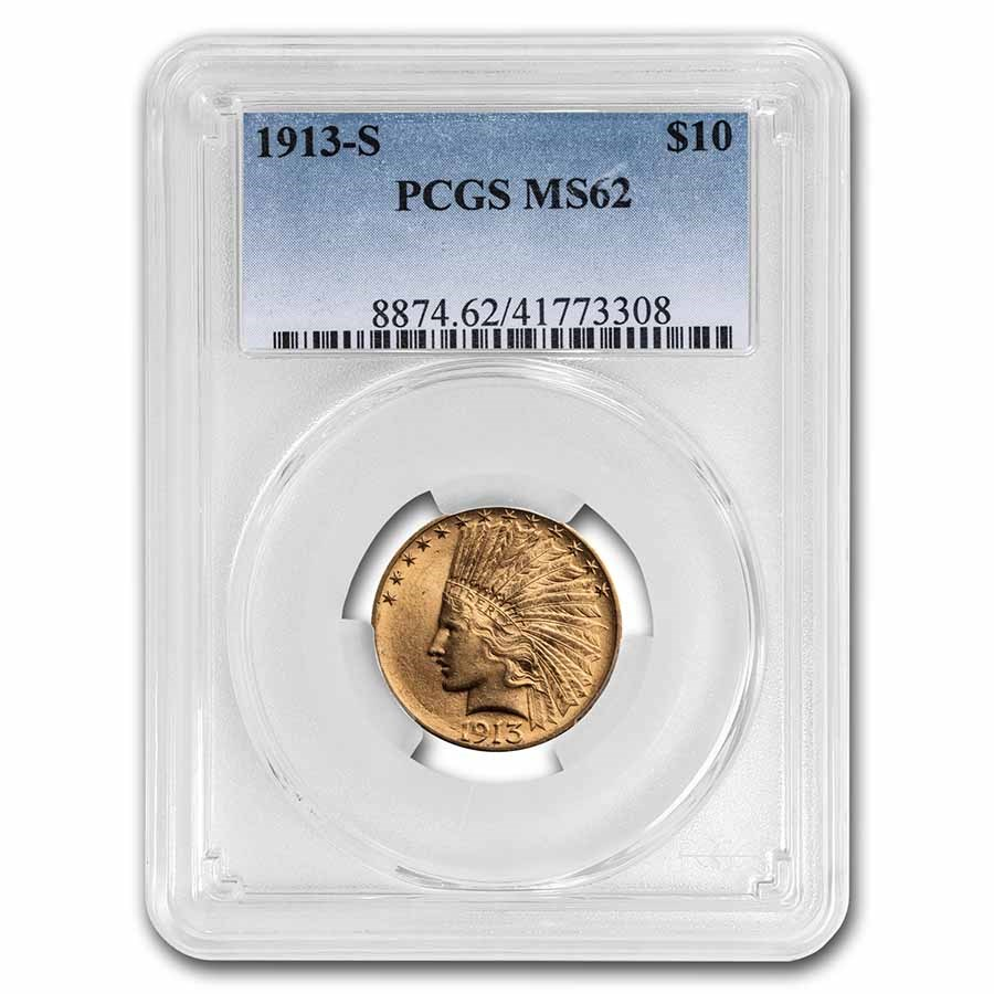 1913-S $10 Indian Gold Eagle MS-62 PCGS
