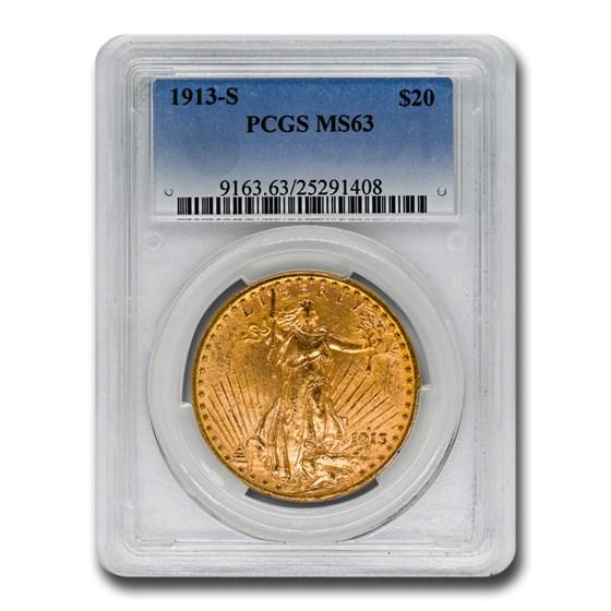 1913-S $20 Saint-Gaudens Gold Double Eagle MS-63 PCGS