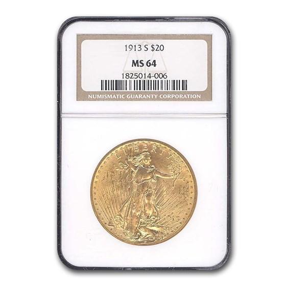 1913-S $20 Saint-Gaudens Gold Double Eagle MS-64 NGC