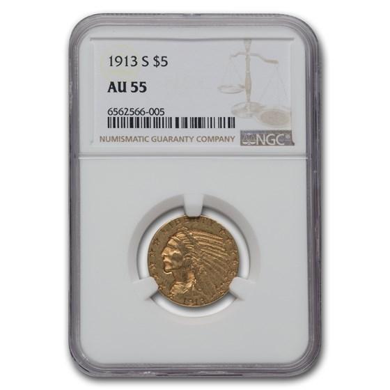 1913-S $5 Indian Gold Half Eagle AU-55 NGC