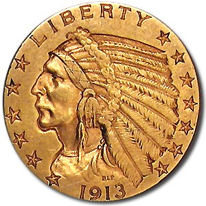 1913-S $5 Indian Gold Half Eagle XF
