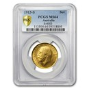 1913-S Australia Gold Sovereign George V MS-64 PCGS