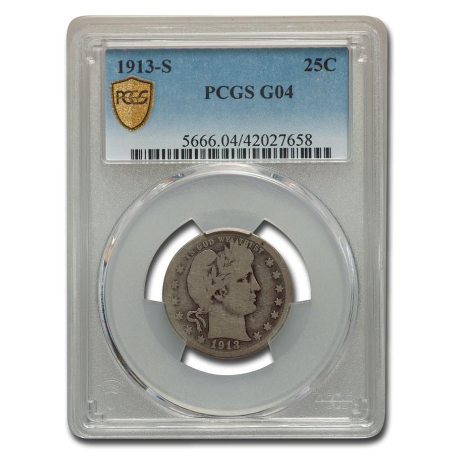 1913-S Barber Quarter Good-4 PCGS