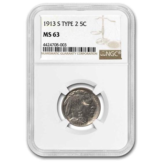 1913-S Buffalo Nickel Type-II MS-63 NGC