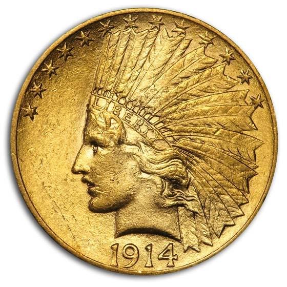 1914 $10 Indian Gold Eagle AU