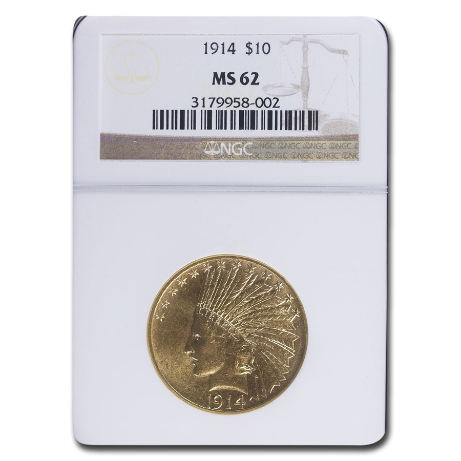 1914 $10 Indian Gold Eagle MS-62 NGC