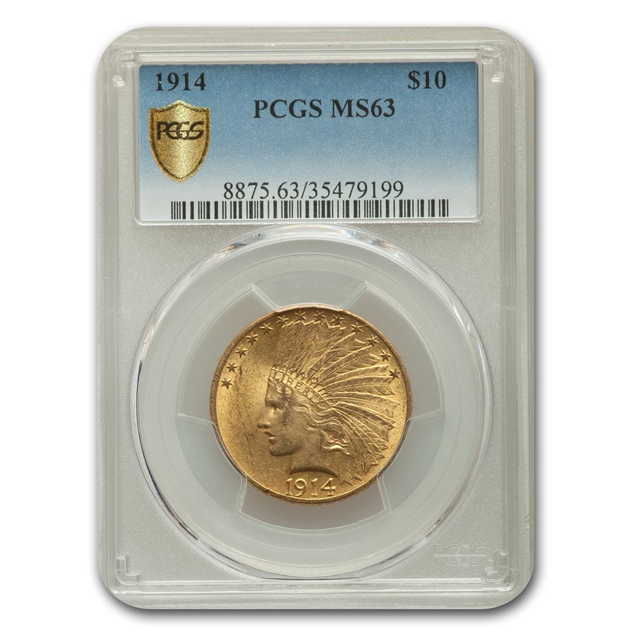 1914 $10 Indian Gold Eagle MS-63 PCGS