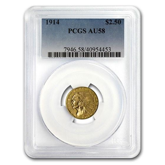 1914 $2.50 Indian Gold Quarter Eagle AU-58 PCGS