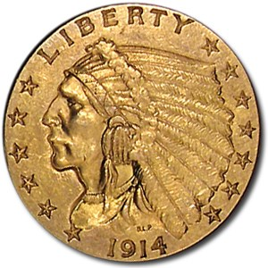 1914 $2.50 Indian Gold Quarter Eagle AU