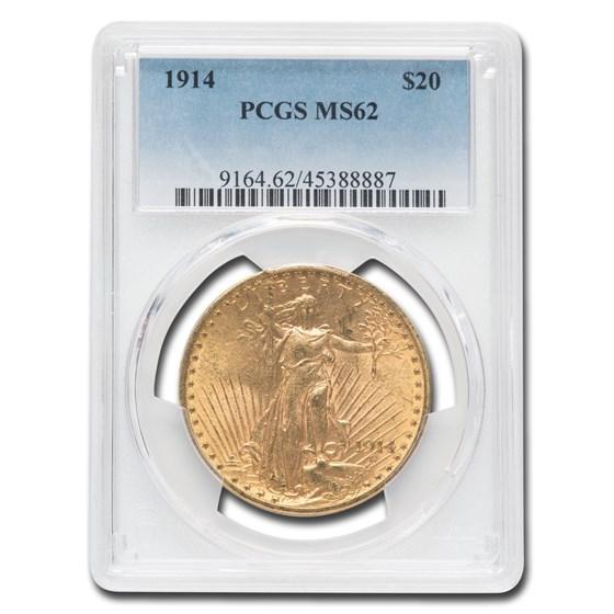 1914 $20 Saint-Gaudens Gold Double Eagle MS-62 PCGS