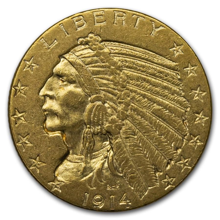 1914 $5 Indian Gold Half Eagle AU