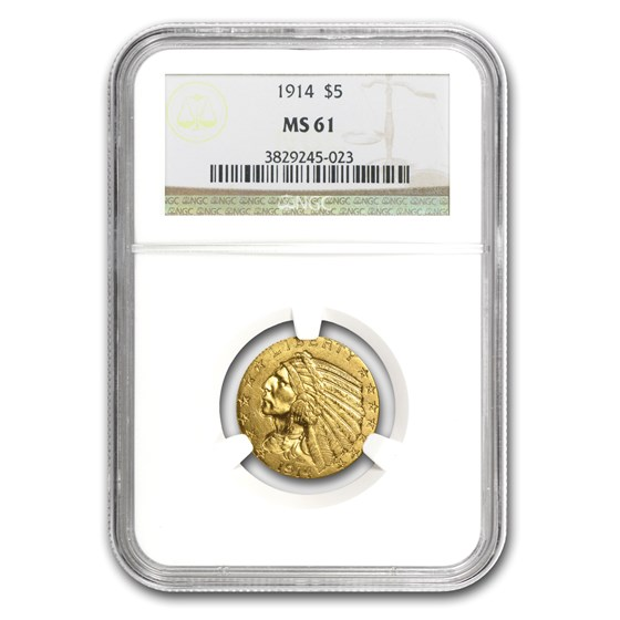 1914 $5 Indian Gold Half Eagle MS-61 NGC