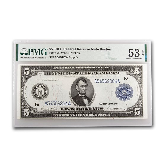 1914 (A-Boston) $5.00 FRN AU-53 EPQ PMG (Fr#847A)