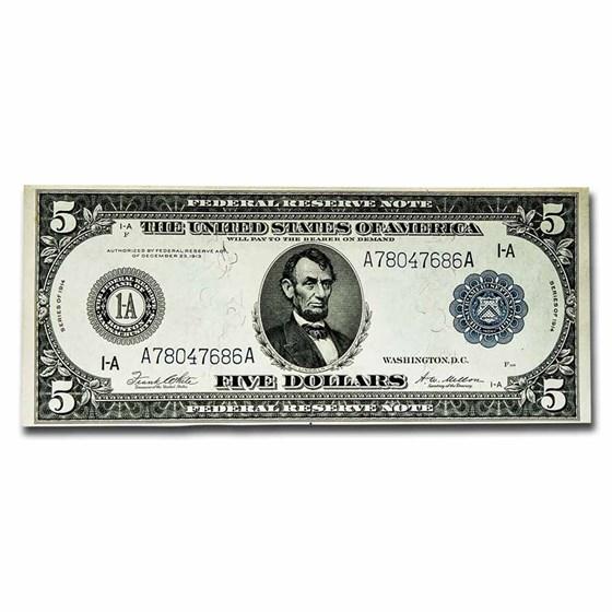 1914 (A-Boston) $5.00 FRN AU (Fr#847A)