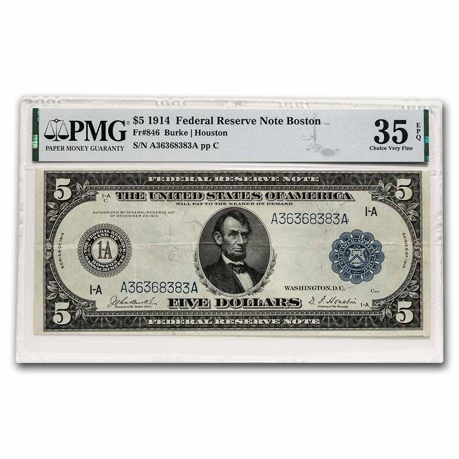 1914 (A-Boston) $5.00 FRN CH VF-35 EPQ PMG (Fr#846) Repeater