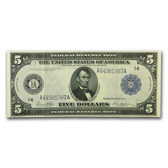 1914 (A-Boston) $5.00 FRN XF