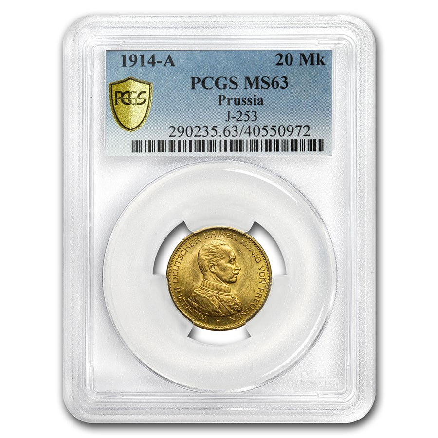 1914-A Prussia Gold 20 Marks Military Bust MS-63 PCGS.