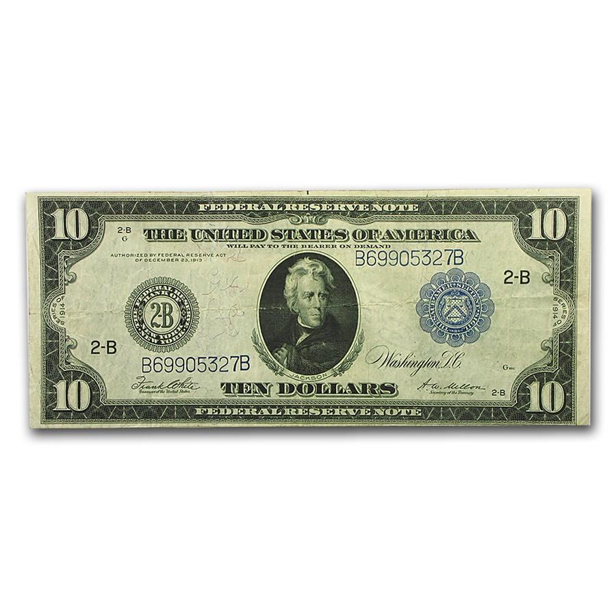1914 (B-New York) $10 FRN VF (Fr#911B)