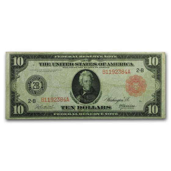1914 (B-New York) $10 FRN VF (Red Seal)