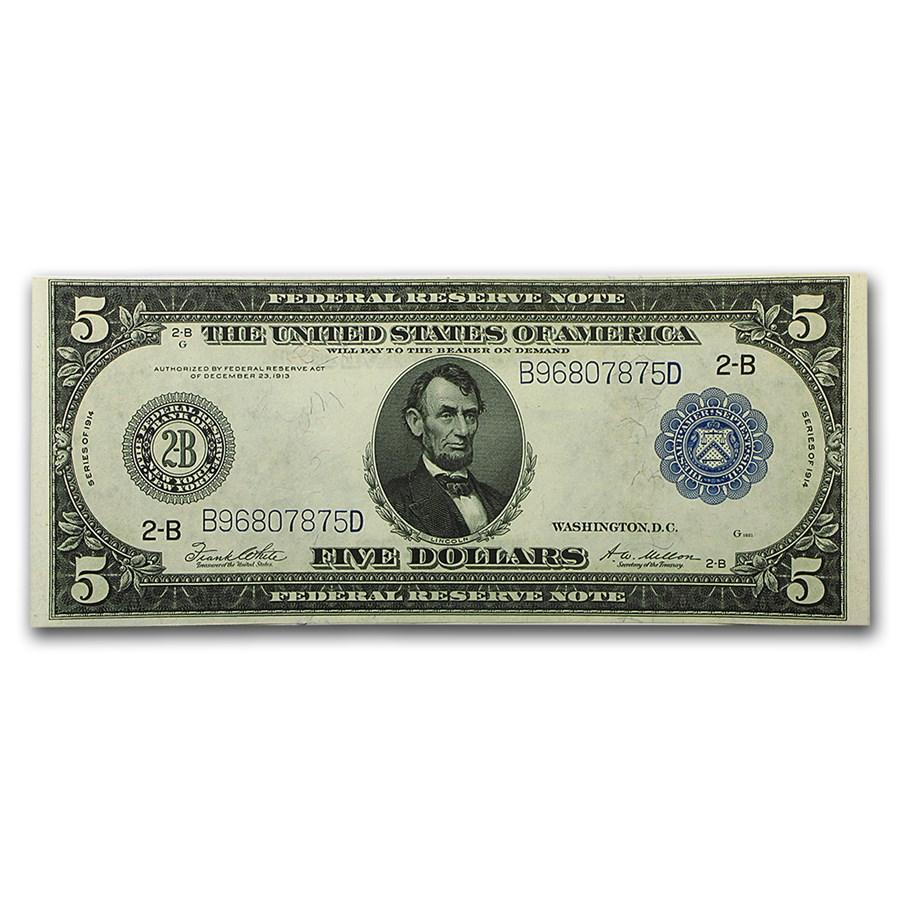 1914 (B-New York) $5.00 FRN CU