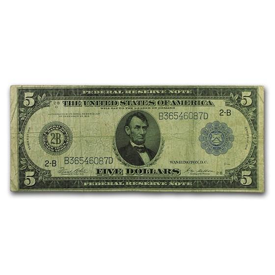 1914 (B-New York) $5.00 FRN Fine (Fr#851A)