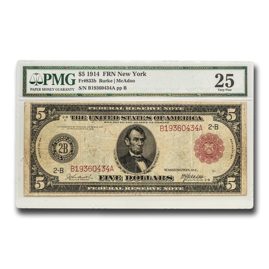 1914 (B-New York) $5.00 FRN VF-25 PMG (Fr#833B) Red Seal