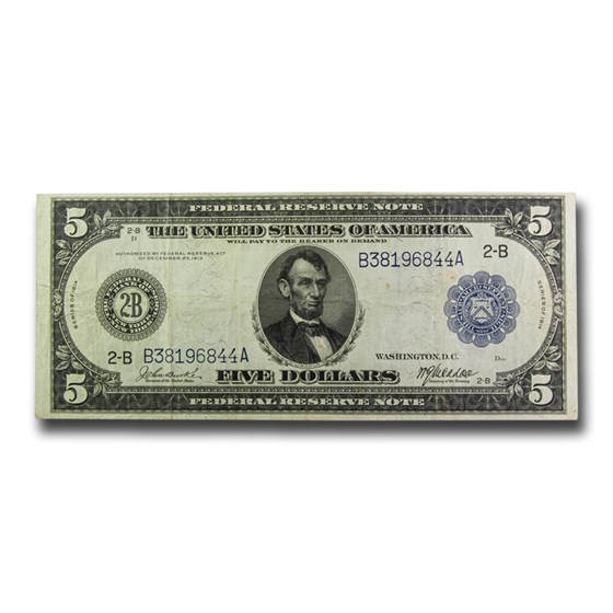 1914 (B-New York) $5.00 FRN VF (Fr#848)
