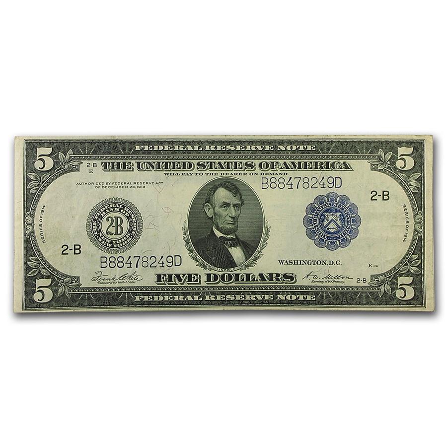 1914 (B-New York) $5.00 FRN VF
