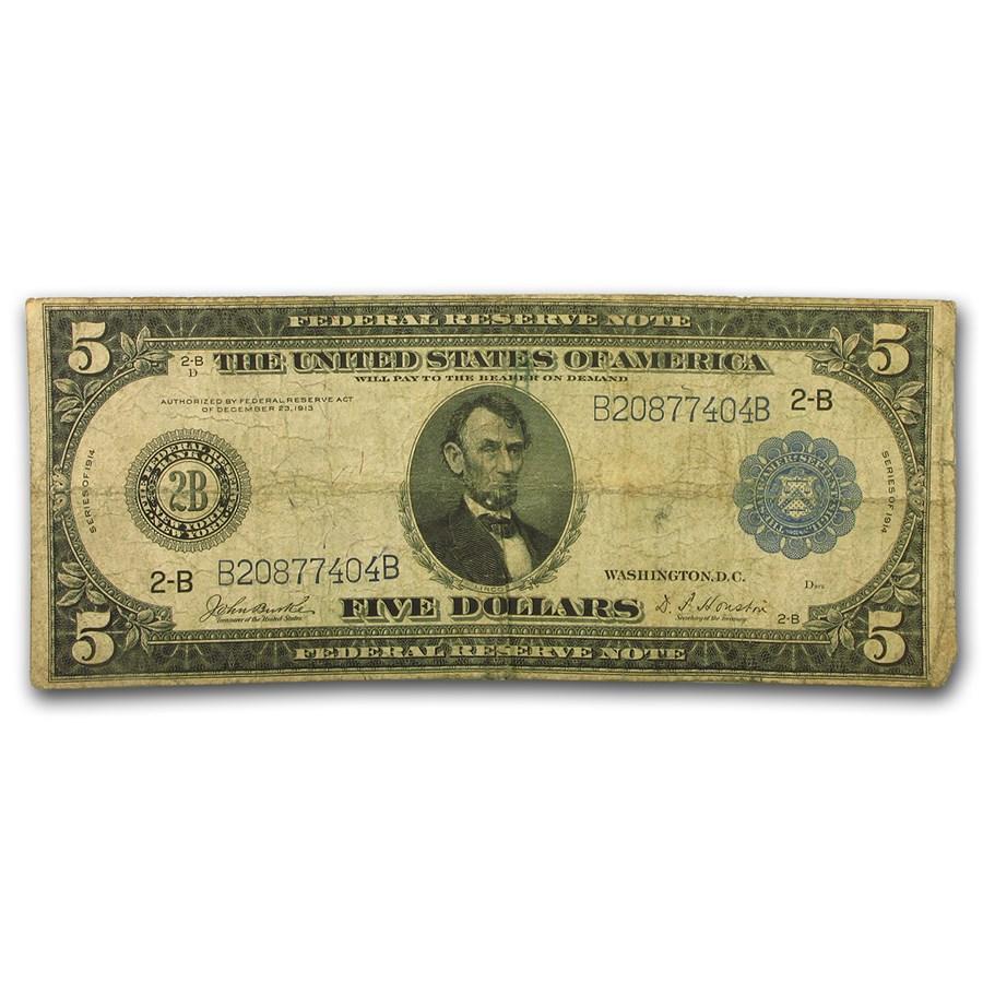 1914 (B-New York) $5.00 FRN VG (Fr#850)