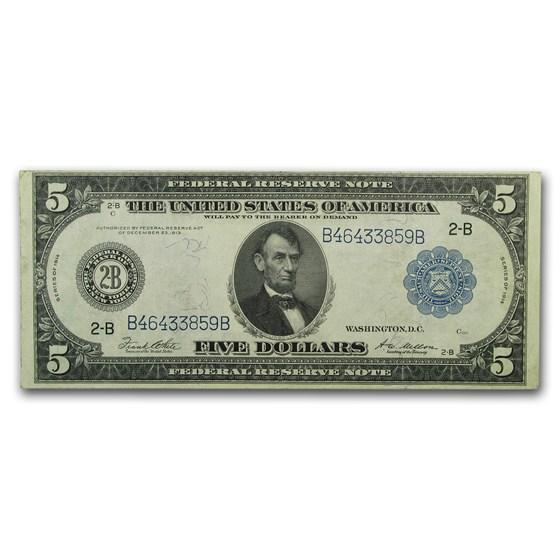1914 (B-New York) $5.00 FRN XF (Fr#851A)