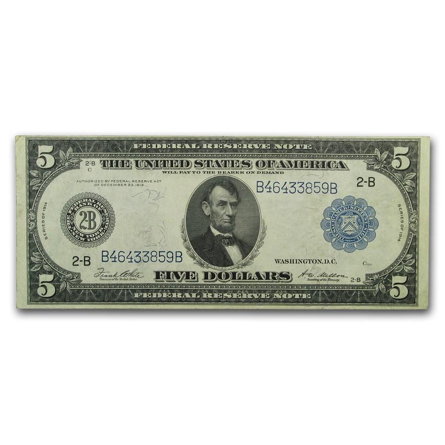 1914 (B-New York) $5.00 FRN XF