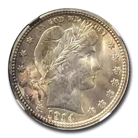 1914 Barber Quarter MS-64 PCGS