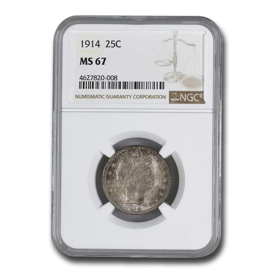1914 Barber Quarter MS-67 NGC