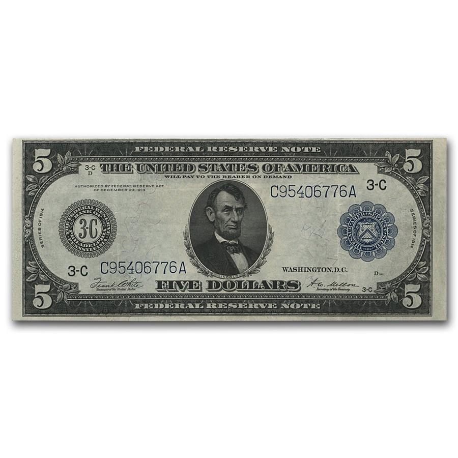 1914 (C-Philadelphia) $5.00 FRN AU (Fr#TBD)