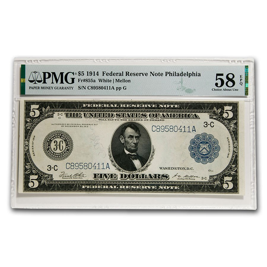 1914 (C-Philadelphia) $5.00 FRN Choice AU-58 EPQ PMG (Fr#855A)