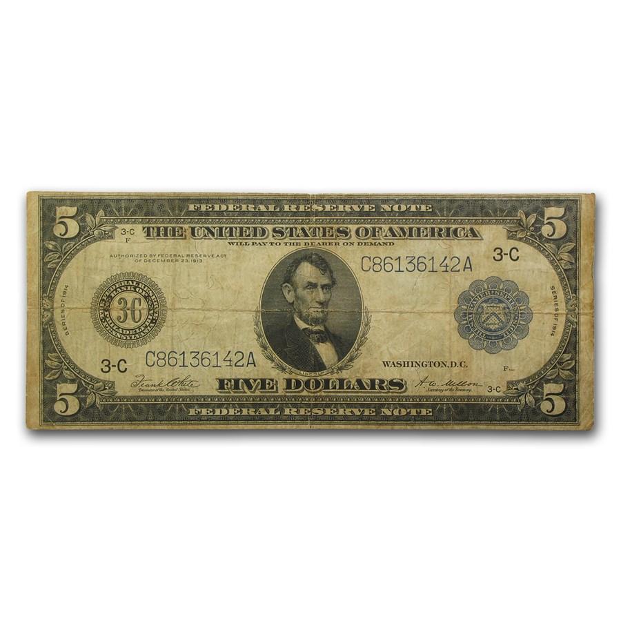 1914 (C-Philadelphia) $5.00 FRN Fine (Fr#855A)