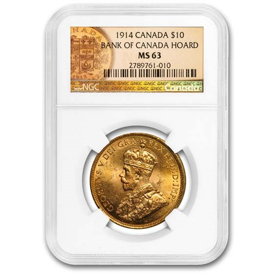 1914 Canada Gold $10 Reserve MS-63 NGC (Gold Reserve)