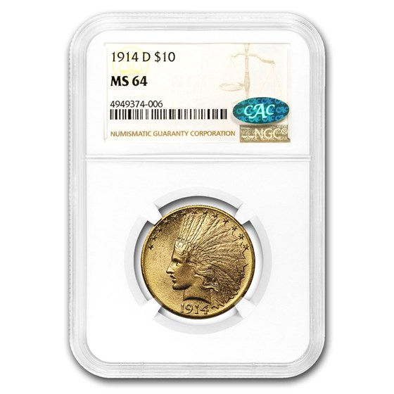 1914-D $10 Indian Gold Eagle MS-64 NGC (CAC)