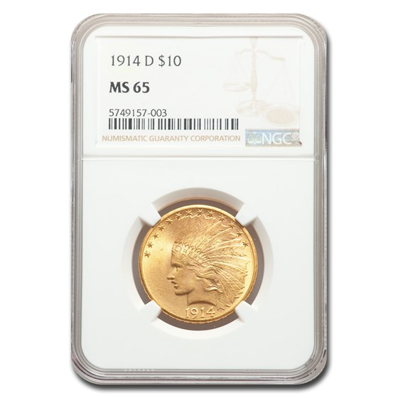 1914-D $10 Indian Gold Eagle MS-65 NGC