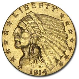 1914-D $2.50 Indian Gold Quarter Eagle AU