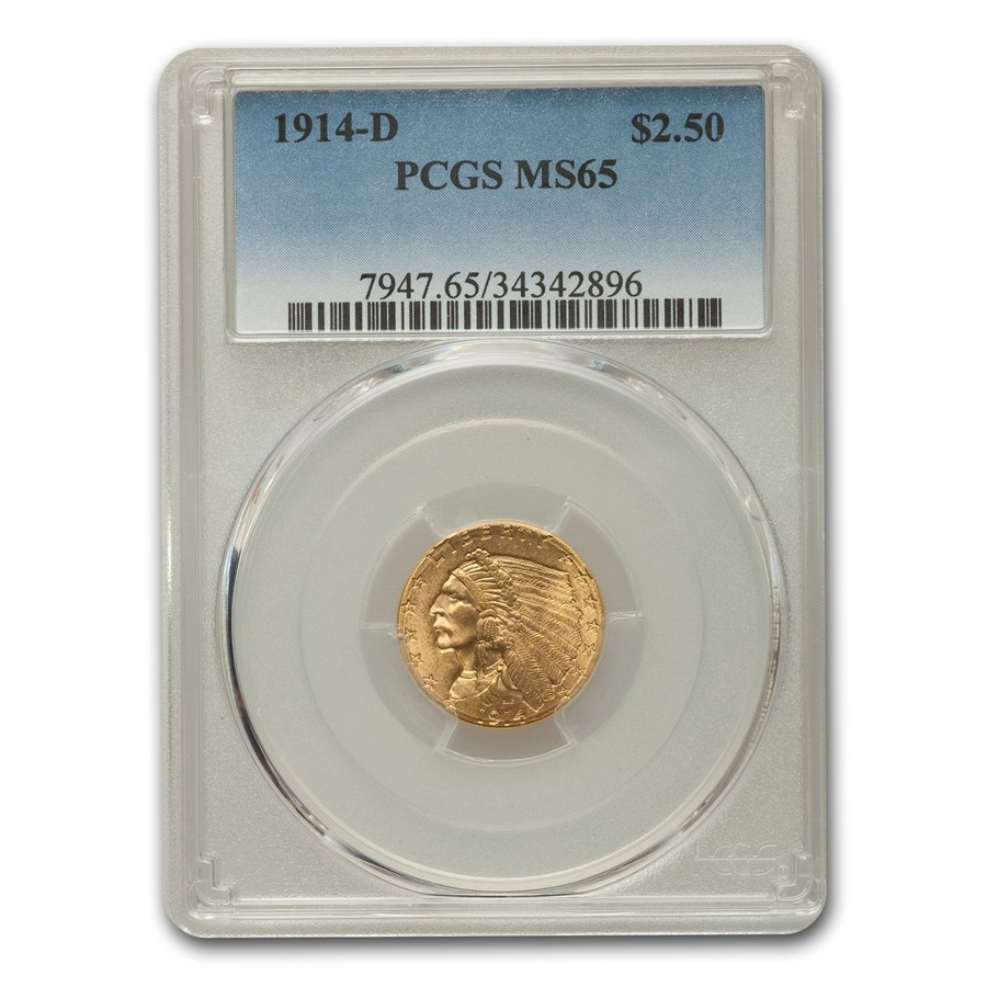 1914-D $2.50 Indian Gold Quarter Eagle MS-65 PCGS