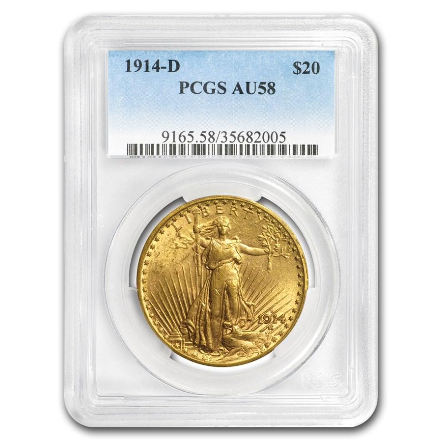 1914-D $20 Saint-Gaudens Gold Double Eagle AU-58 PCGS
