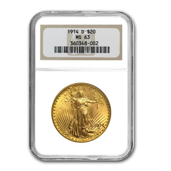 1914-D $20 Saint-Gaudens Gold Double Eagle MS-63 NGC