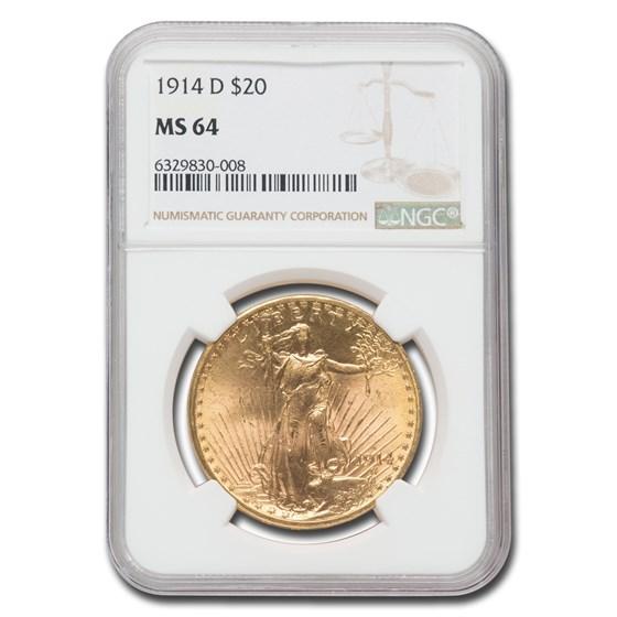 1914-D $20 Saint-Gaudens Gold Double Eagle MS-64 NGC
